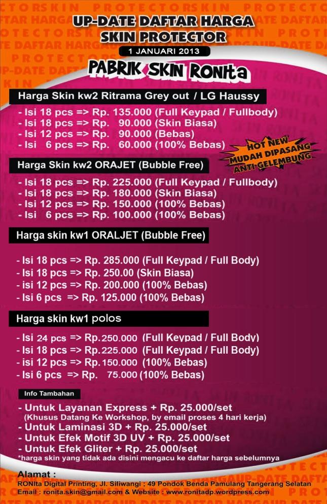daftar harga skin terbaru 1 JANUARI