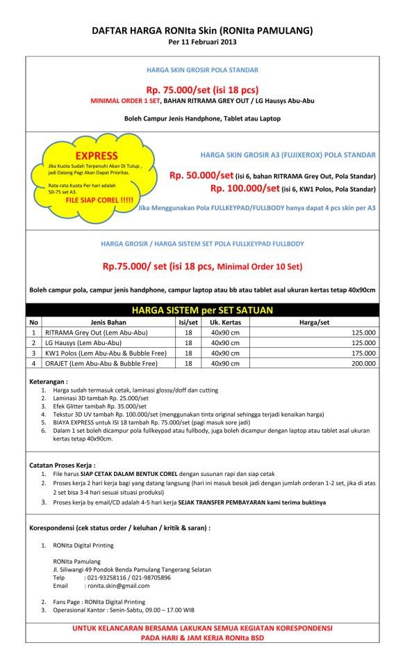 harga skin protector ronita per 11 februari 2013