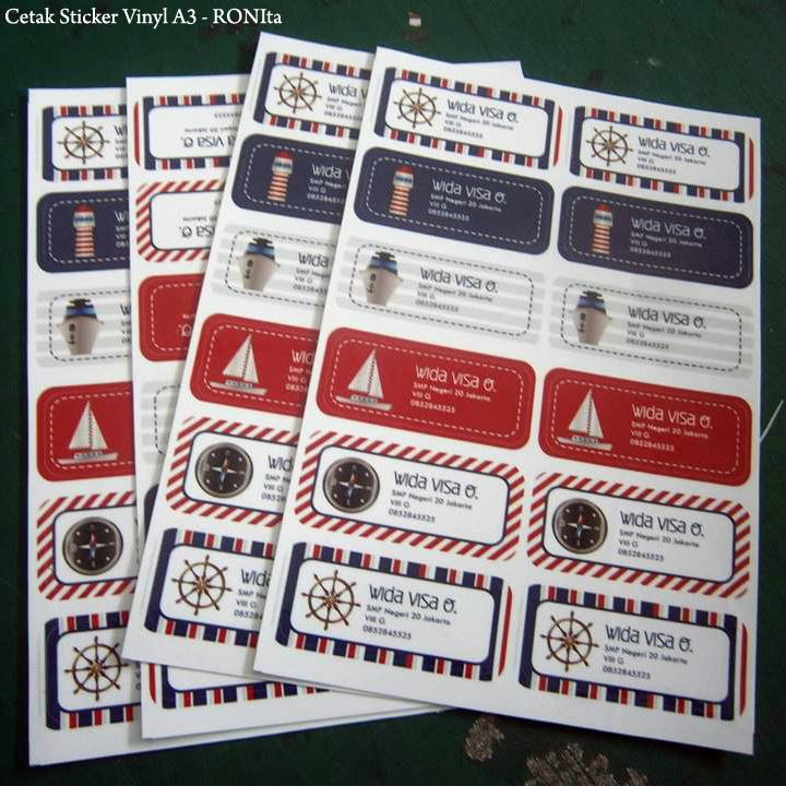 Cetak sticker vinyl a3