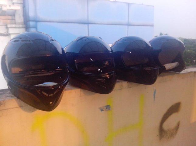 hasil pengecatan helm