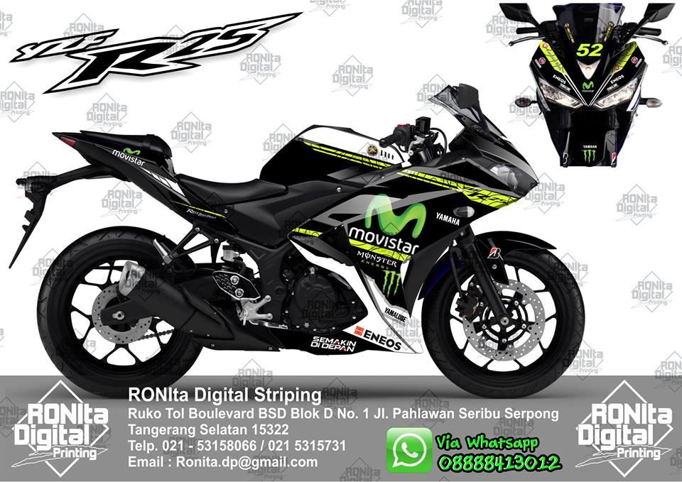 Sticker Decal Vinyl Motif Yamaha MotoGP Movistar 2014
